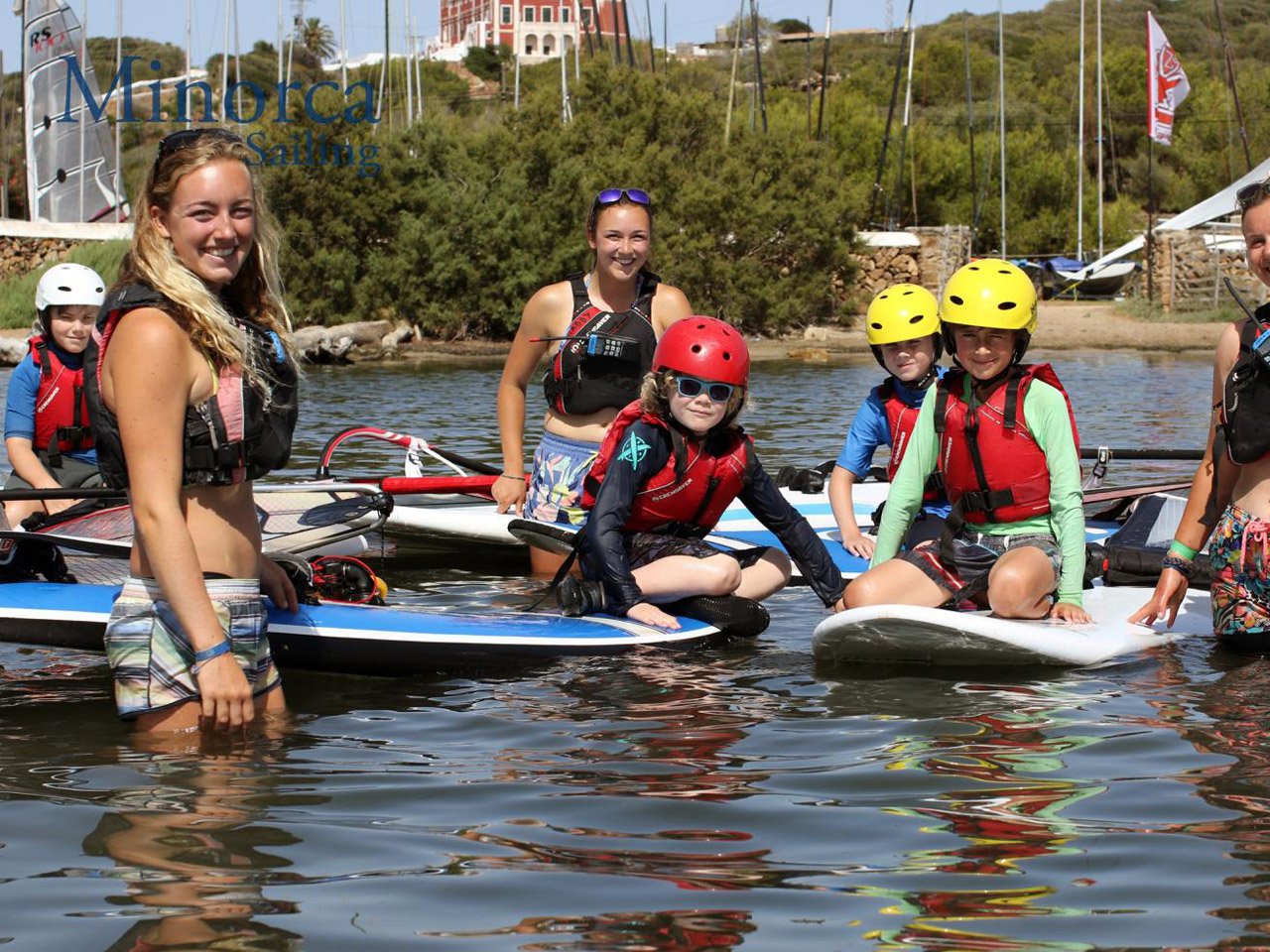 Children learn to windsurf