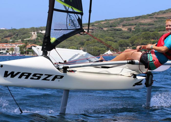Foiling the Waszp at Minorca Sailing in the Bay of Fornells, Menorca
